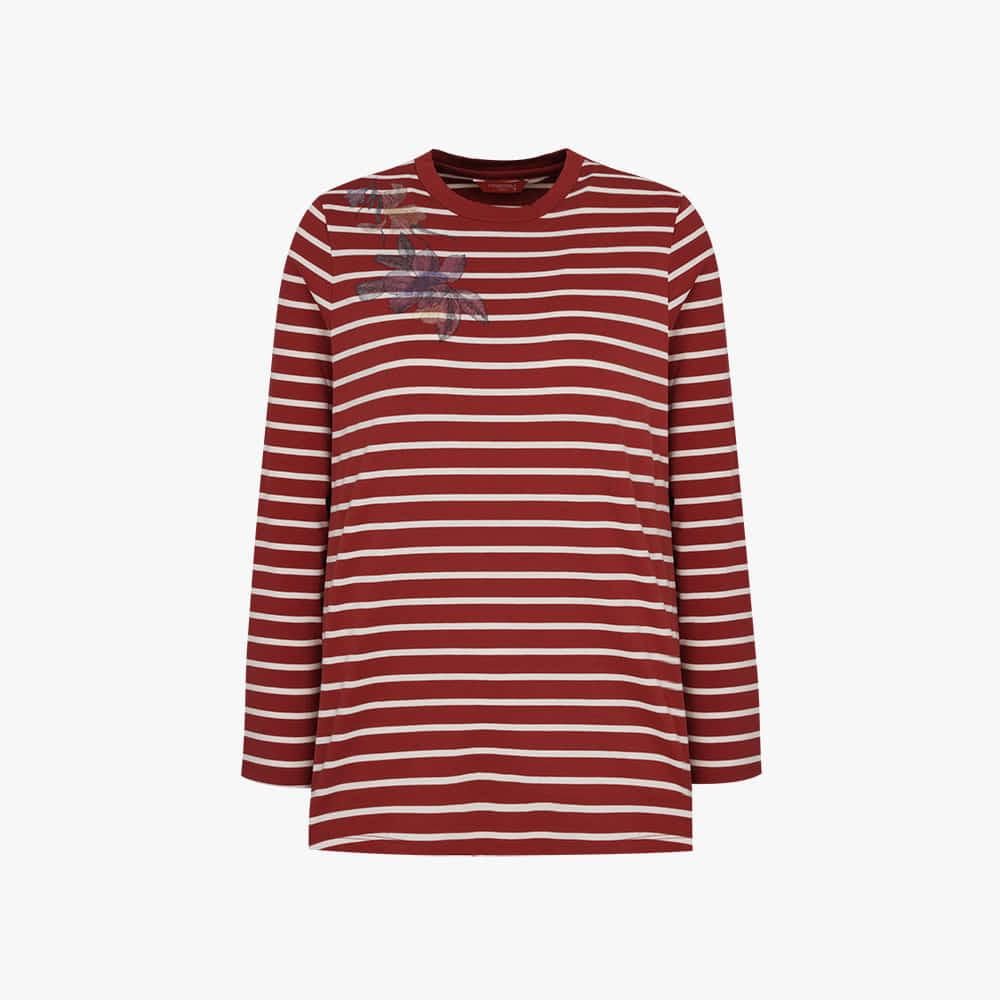 플라워 스트라이프 티셔츠 CL0FTS204