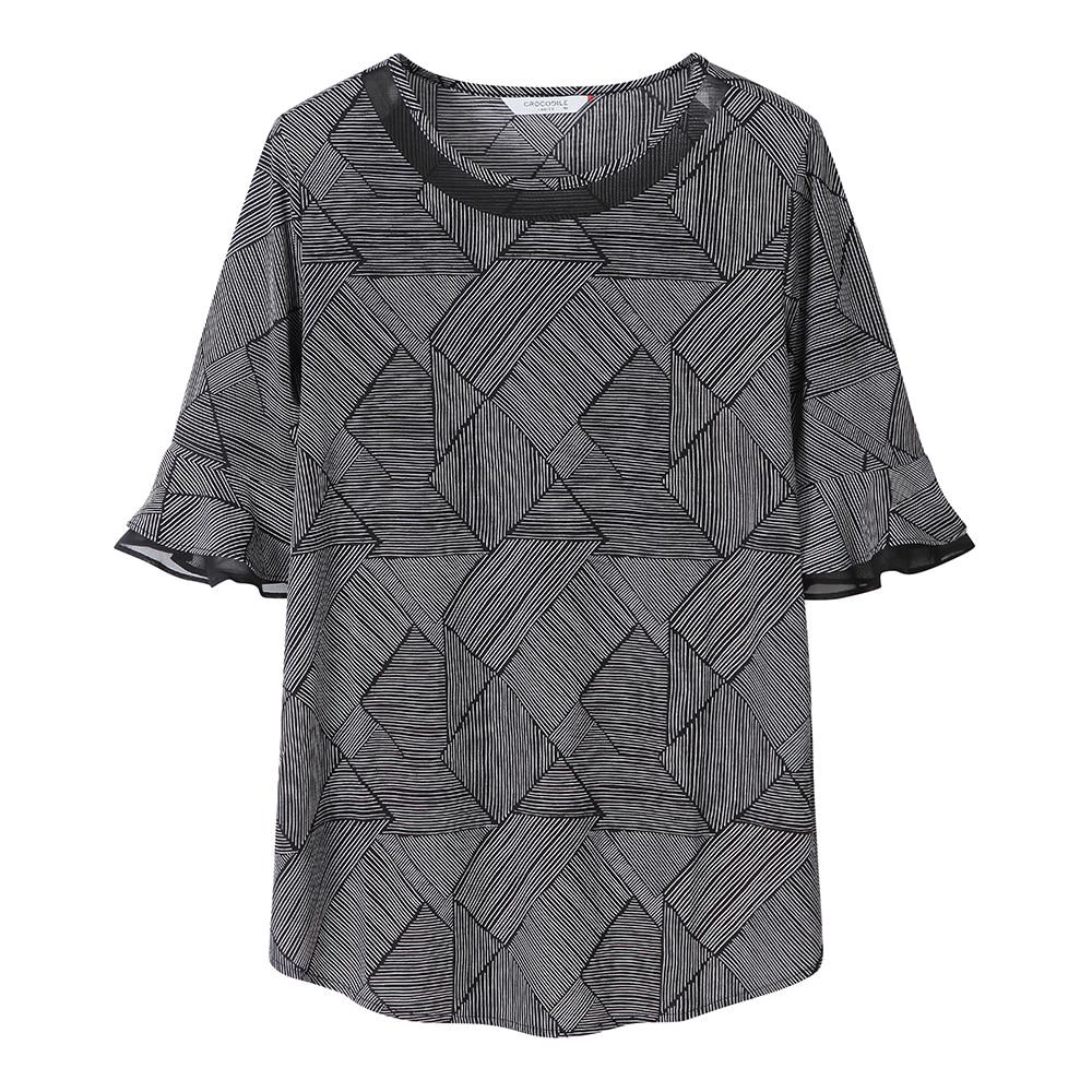 모노톤 기하학 무늬 티셔츠_CL0MTS127