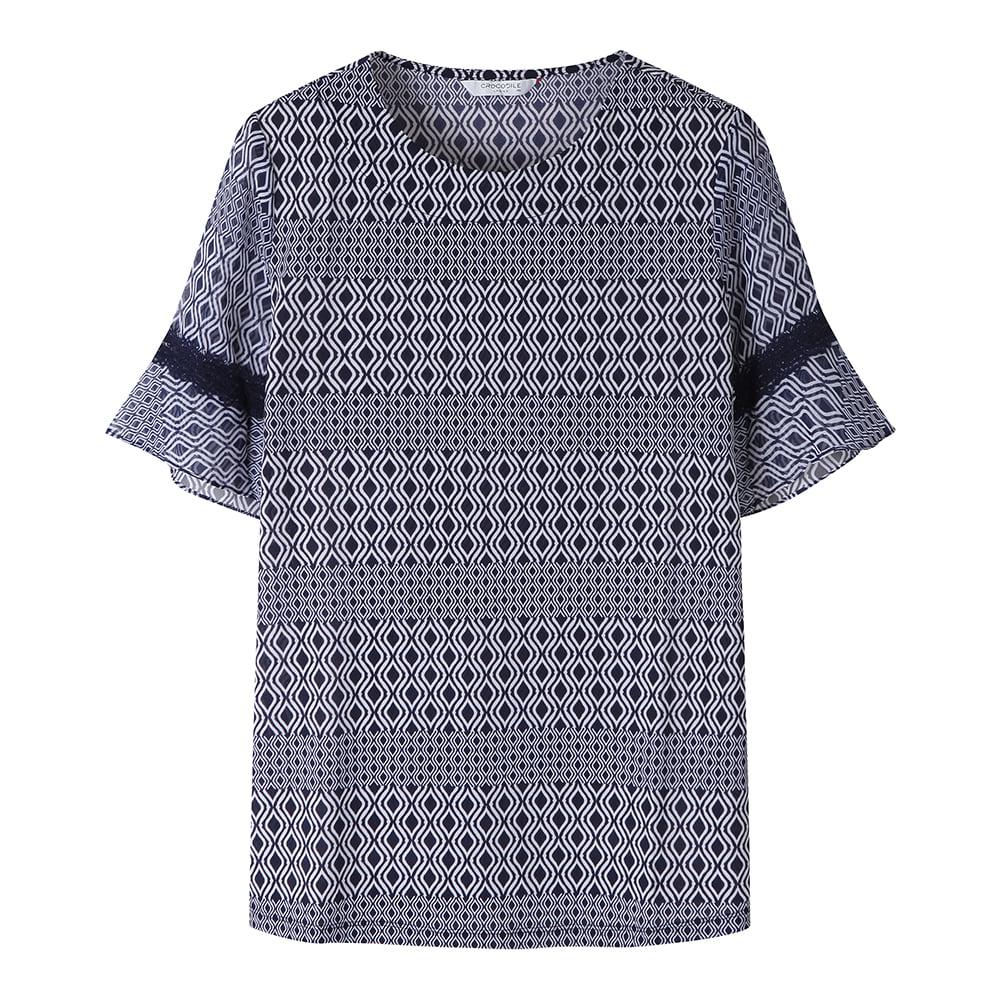 에스닉 패턴의 소매 레이스 티셔츠_CL0MTS128