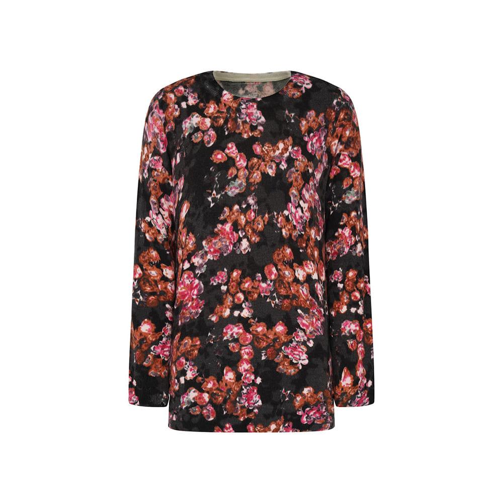 플라워 패턴 기모 티셔츠 CL0WSW109