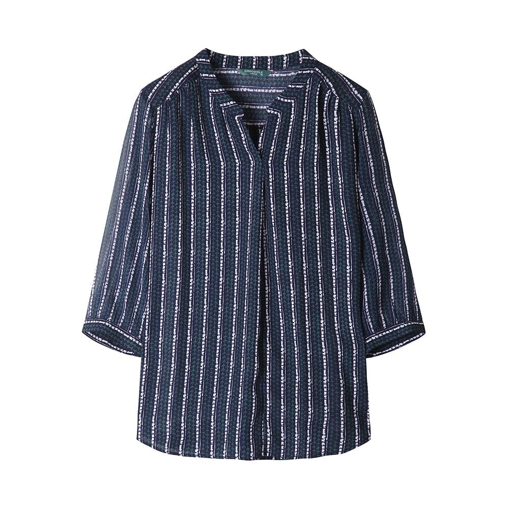 잔잔한 프린트 셔링 디테일 포인트 티셔츠_CLAMTS112