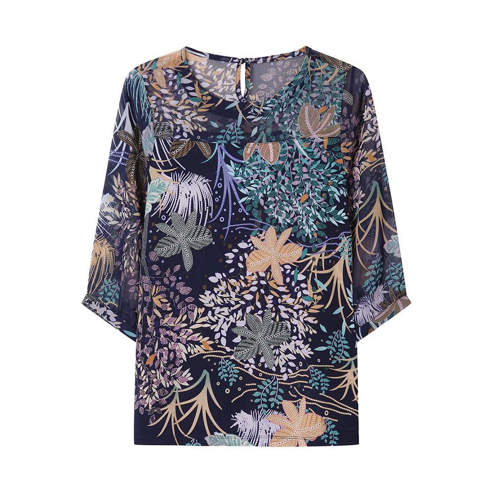 7부 플라워 패턴 티셔츠_CLAMTS118