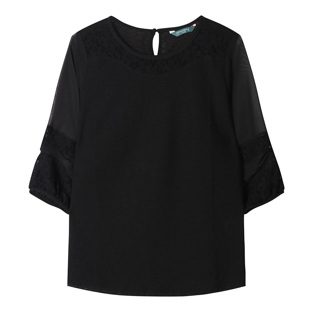 소매 플라워 포인트 블라우스 셔츠_CLAMTS129