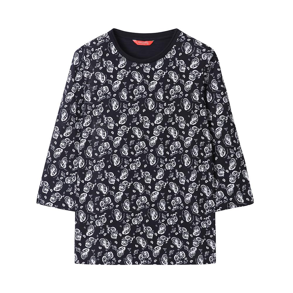 라운드넥 7부 패턴 티셔츠_CLAMTS220