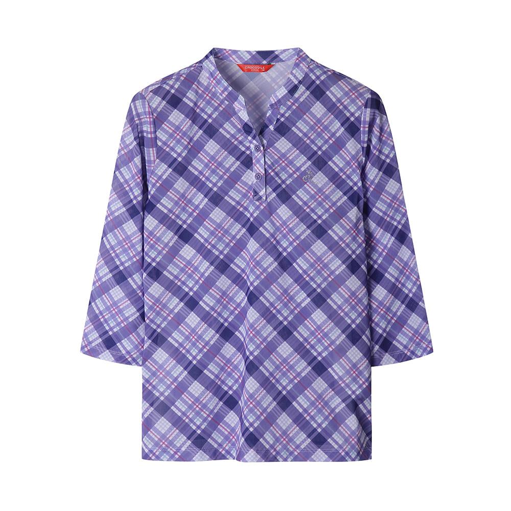 트리코트 메쉬 소재 Y넥 체크 티셔츠_CLAMTS232