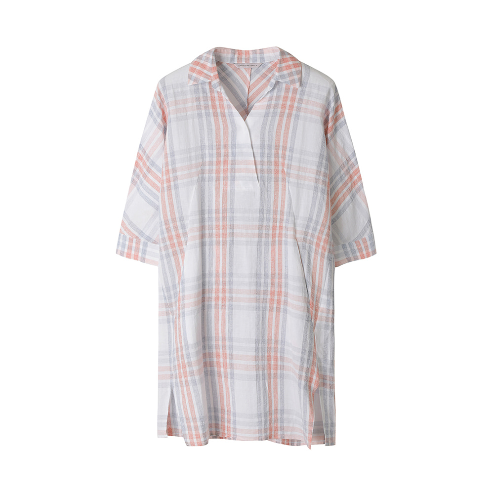 체크 롱 셔츠 블라우스_HC0MBL212
