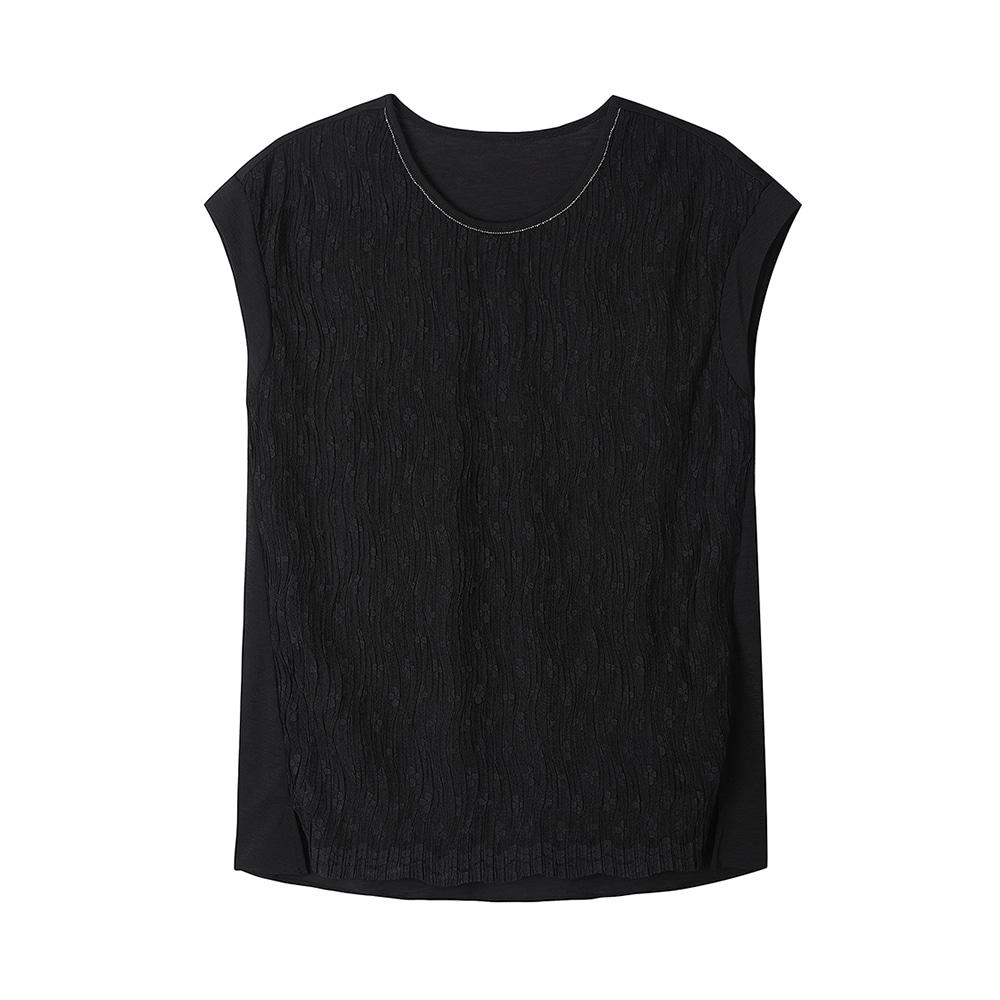 레이스 주름 민소매 티셔츠_HC0MTS110