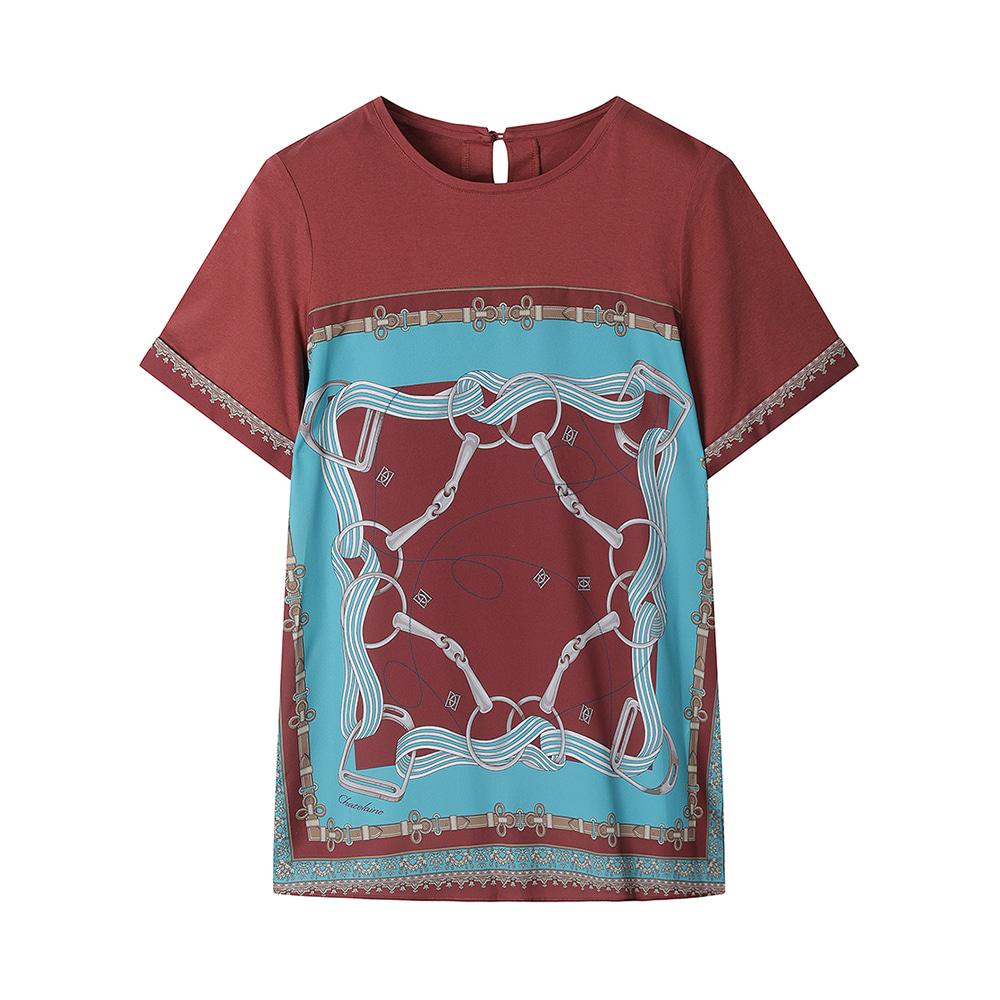 스카프 프린트 티셔츠_HC0MTS205