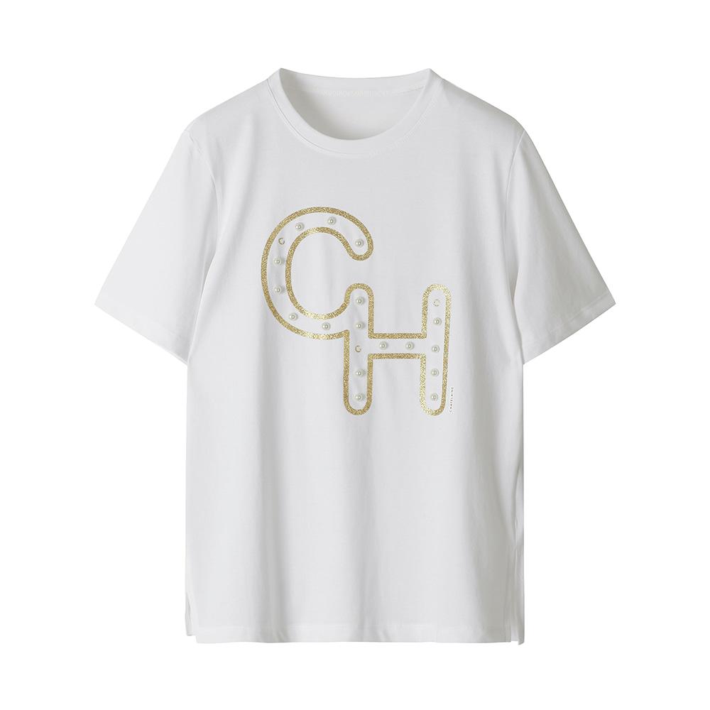 로고 진주 포인트 반팔 티셔츠_HCAMTS703