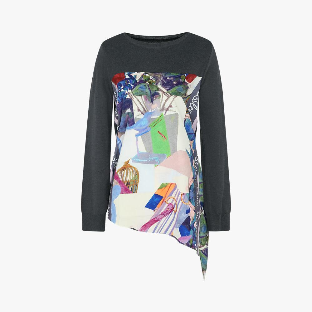믹스 패턴 니트 티셔츠_OH0FSW103
