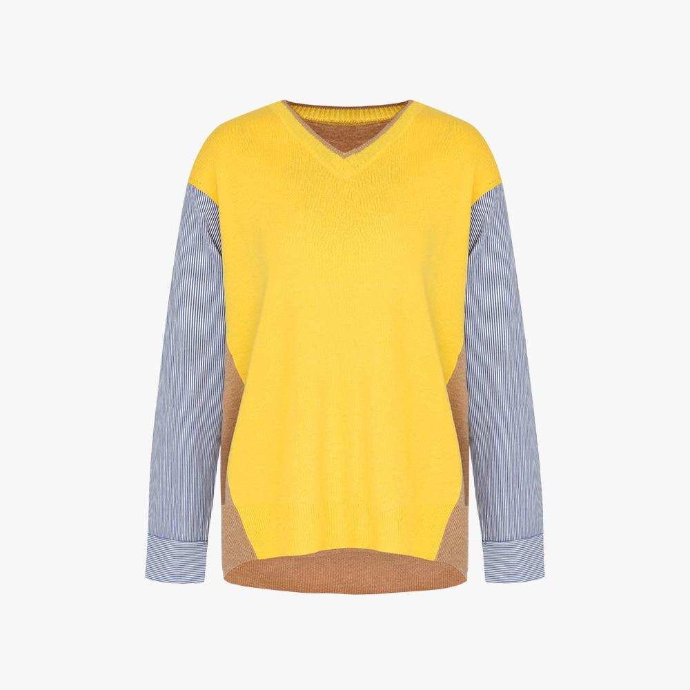 스트라이프 브이넥 풀오버 티셔츠 OH0FSW201