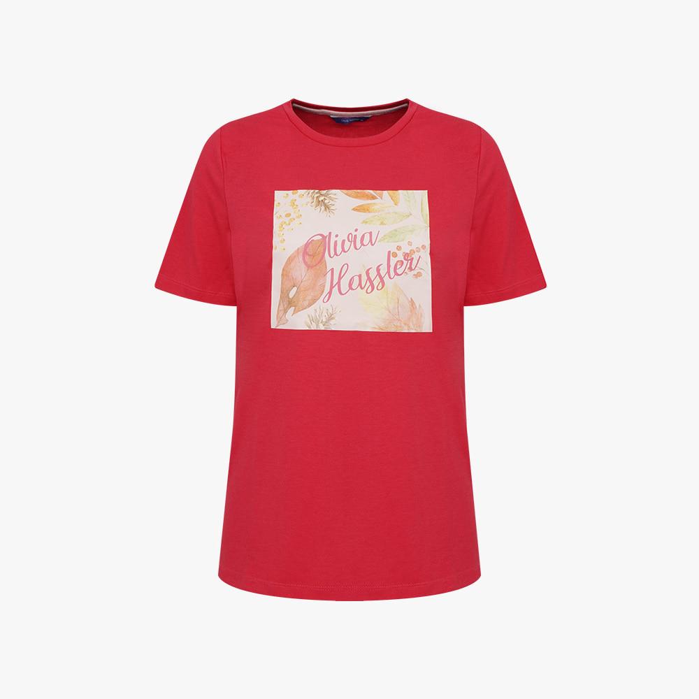 내추럴 프린팅 라운드 티셔츠