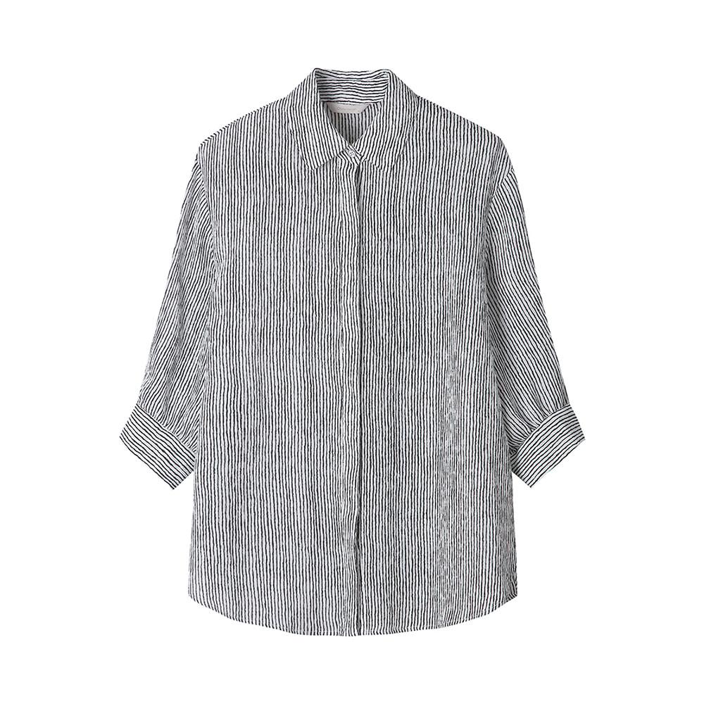 칠부소매 스트라이프 셔츠_OH0MBL223