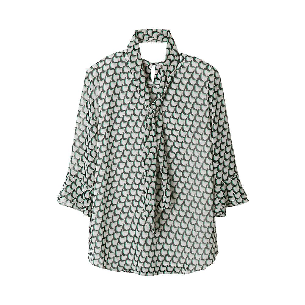스카프 라운드넥 패턴 티셔츠 _OH0MTS115