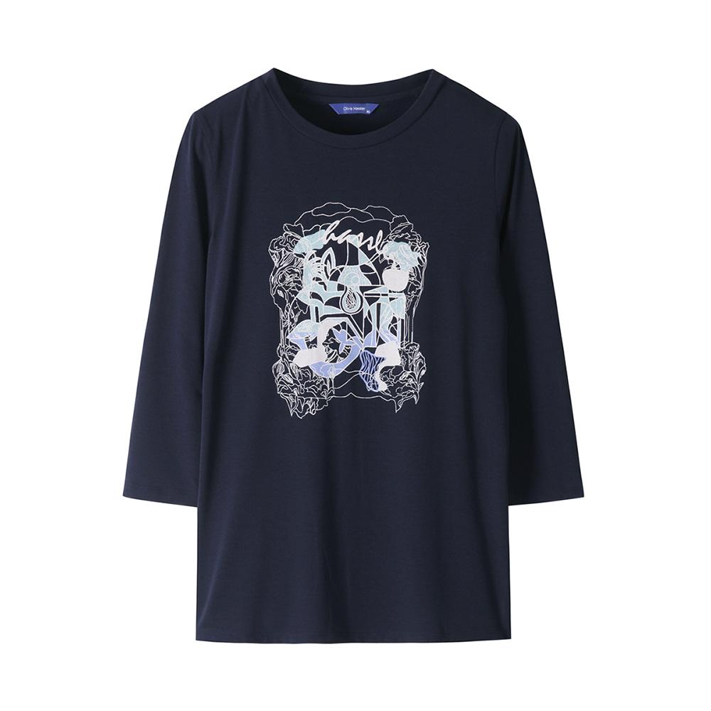 7부 소매 라운드 티셔츠_OHAFTS903